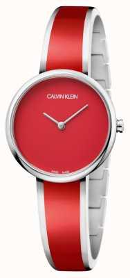 Calvin Klein | seduzir mulheres | pulseira de resina vermelha de aço inoxidável | K4E2N11P