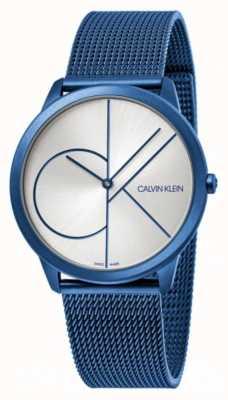 Calvin Klein Mínimo | pulseira de malha azul | mostrador prateado | K3M51T56