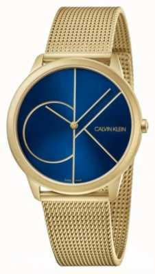 Calvin Klein Mínimo | pulseira de malha de ouro | mostrador azul | K3M5155N