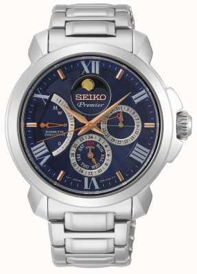 Seiko | acionamento direto cinético premier | mens | calendário azul | SRX017P1