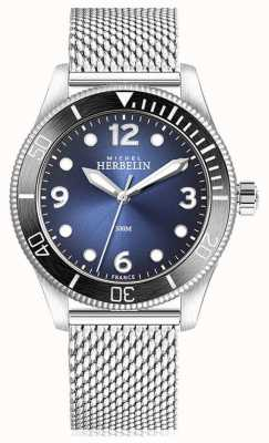 Michel Herbelin | troféu de quartzo | mens | mostrador azul | malha de aço inoxidável | 12260/AN15B