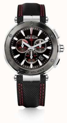 Michel Herbelin | mens | Newport | cronógrafo vermelho e preto | nylon | 37688/AG44
