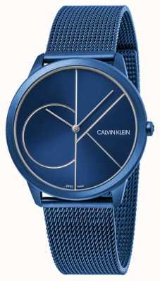 Calvin Klein | mulheres | mínimo | alça de malha azul | mostrador azul | K3M52T5N