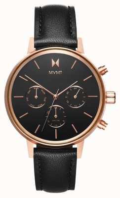 MVMT Nova vela | pulseira de couro preto | mostrador preto D-FC01-RGBL