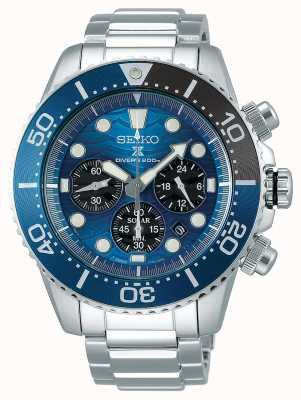 Seiko | mergulhador prospex | salvar o oceano | mostrador cronógrafo azul | SSC741P1