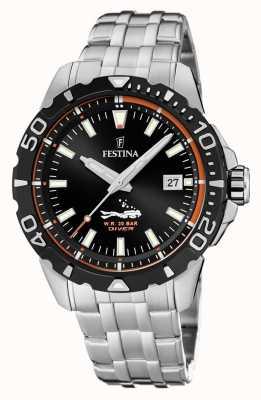 Festina | homens mergulhadores | pulseira de aço inoxidável | mostrador preto | F20461/3