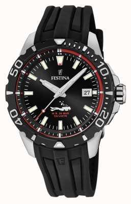 Festina | homens mergulhadores | pulseira de borracha preta | mostrador preto | F20462/2