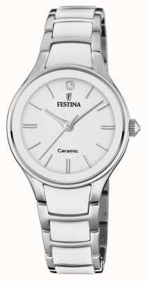 Festina | cerâmica de mulher | pulseira de prata / branco | mostrador branco | F20474/1
