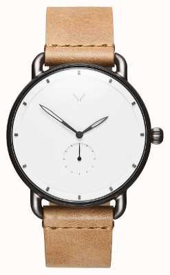MVMT Revólver Místico | pulseira de couro marrom | mostrador branco D-MR01-WC
