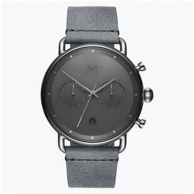 MVMT Névoa de prata no asfalto | pulseira de couro cinza | mostrador cinza D-BT01-SGR