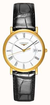 Longines Presença Ouro amarelo 18k | 34mm masculino | pulseira de couro L47776110