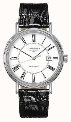 Longines Presença suíço automático | couro preto | mostrador branco L49224112