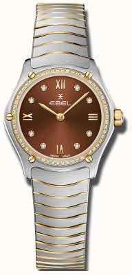 EBEL Womens sport classic | mostrador marrom | conjunto de diamantes | inoxidável 1216443A