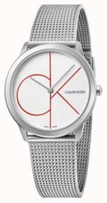 Calvin Klein | mínimo | pulseira de malha de aço inoxidável | mostrador prateado | K3M52152