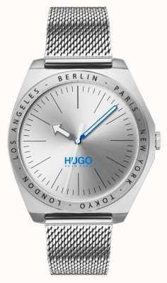 HUGO #act | malha de aço inoxidável | mostrador prateado 1530107