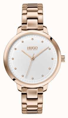 HUGO #achieve | pulseira de ouro rosa ip | mostrador branco 1540037