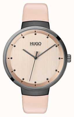 HUGO #go | pulseira de couro rosa | mostrador em ouro rosa 1540001