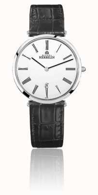 Michel Herbelin | mens | épsilon | pulseira de couro preto | mostrador branco | 19406/01N
