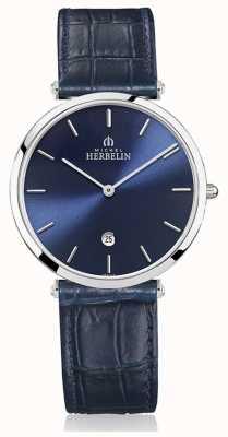 Michel Herbelin | mens | épsilon | pulseira de couro azul | mostrador azul | 19406/15BL