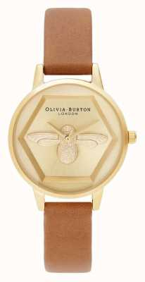 Olivia Burton | Relógio de caridade abelha 3d | alça vegana marrom-mel | OB16AM167