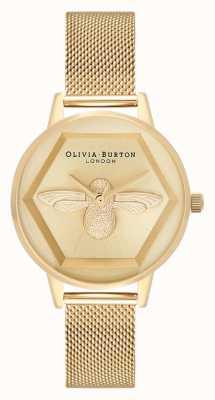 Olivia Burton | Relógio de caridade abelha 3d | pulseira de malha de ouro amarelo | OB16AM169