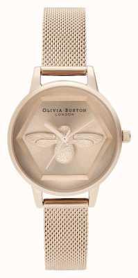 Olivia Burton | Relógio de caridade abelha 3d | pulseira de malha de ouro rosa | OB16AM170