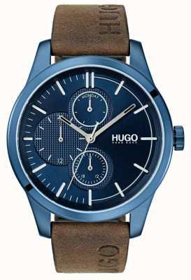 HUGO #discover | pulseira de couro marrom | mostrador azul 1530083