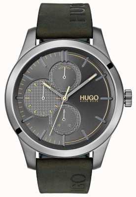 HUGO #discover | pulseira de couro verde | mostrador cinza 1530084