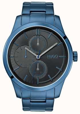 HUGO #discover | pulseira de ip azul | mostrador preto | 1530086