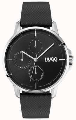 HUGO #focus | pulseira de couro preto | mostrador preto 1530022