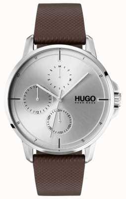 HUGO #focus | pulseira de couro marrom | mostrador prateado 1530023