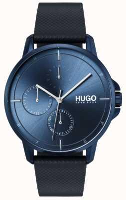 HUGO #focus | pulseira de couro azul | mostrador azul 1530033