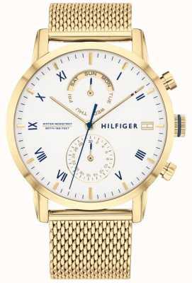 Tommy Hilfiger | pulseira de malha de aço dourada para homem | mostrador branco | 1710403