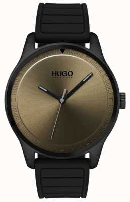 HUGO #move | pulseira de borracha preta | mostrador cáqui 1530041