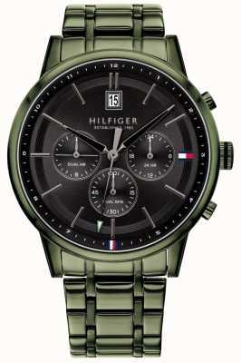Tommy Hilfiger | pulseira masculina revestida de pvd verde | mostrador preto | 1791634