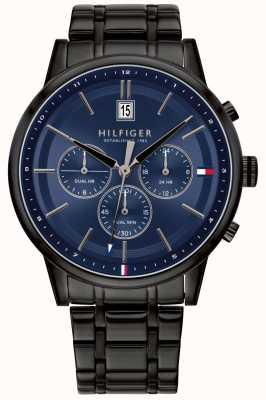Tommy Hilfiger | mens pvd preto banhado a pulseira | mostrador azul | 1791633