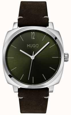 HUGO #own | pulseira de couro preto | mostrador verde 1530068