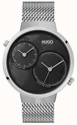 HUGO #travel | malha de aço inoxidável | mostrador preto 1530055