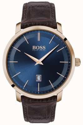BOSS | clássico premium masculino | pulseira de couro marrom | mostrador azul | 1513745