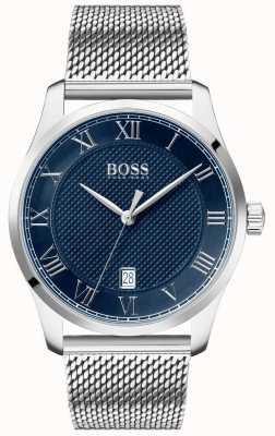 BOSS Mestre pulseira de malha de aço inoxidável   mostrador azul   1513737