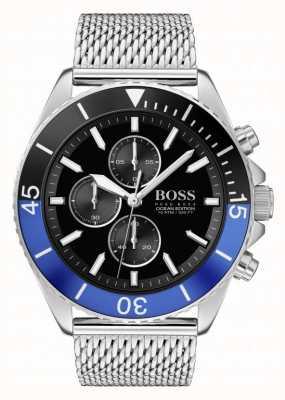 BOSS | edição oceânica para homens | pulseira de malha de aço | mostrador preto | 1513742