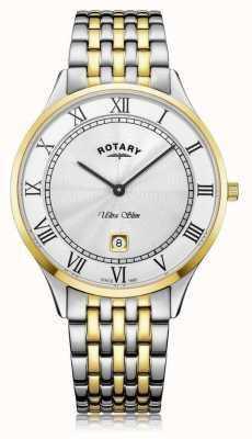 Rotary | ultra fino para homem | aço inoxidável bicolor | mostrador branco | GB08301/01