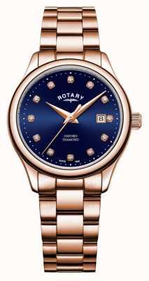 Rotary | oxford das mulheres | pvd em ouro rosa | mostrador azul sunray | LB05096/05/D
