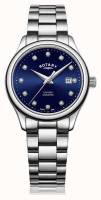 Rotary | oxford das mulheres | aço inoxidável | mostrador azul sunray | LB05092/05/D