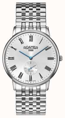 Roamer | elementos masculinos | pulseira de prata inoxidável | mostrador preto | 650810 41 55 50