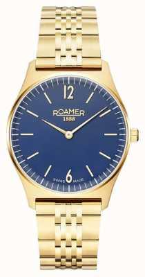 Roamer | elementos femininos | aço inoxidável banhado a ouro | mostrador azul 650815 48 45 50