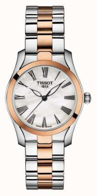 Tissot | onda t | pulseira feminina de dois tons | madrepérola dial | T1122102211301