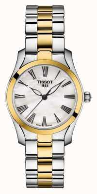 Tissot | onda t | pulseira feminina de dois tons | madrepérola dial | T1122102211300
