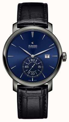 Rado Xl diamaster petite seconde couro preto relógio mostrador azul R14053206