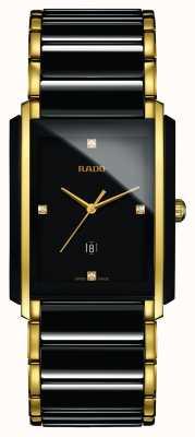 Rado Relógio de mostrador quadrado preto de alta tecnologia com diamantes integrais em cerâmica R20204712